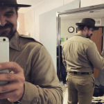 david harbour getting shot of his butt for instagram