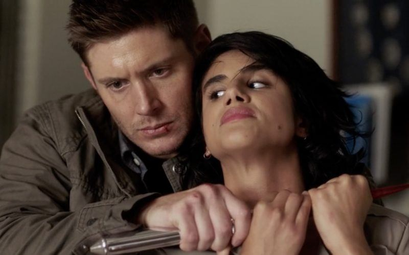 dean winchester holding knife to supernatural angel throat 1301
