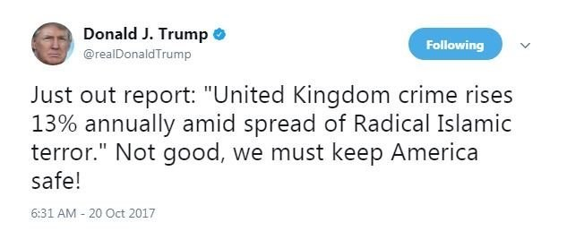 donald trumps fake news tweet about uk crime