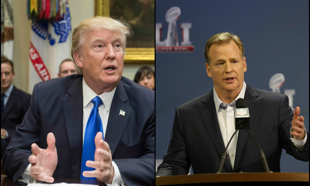 roger goodell caught between al sharpton and donald trump 2017 images