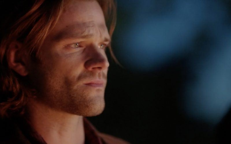 sam winchester watching fire and sad supernatural