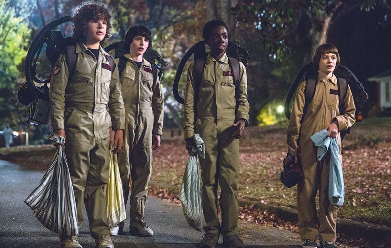 strangers things boys go for ghostbusters halloween costumes