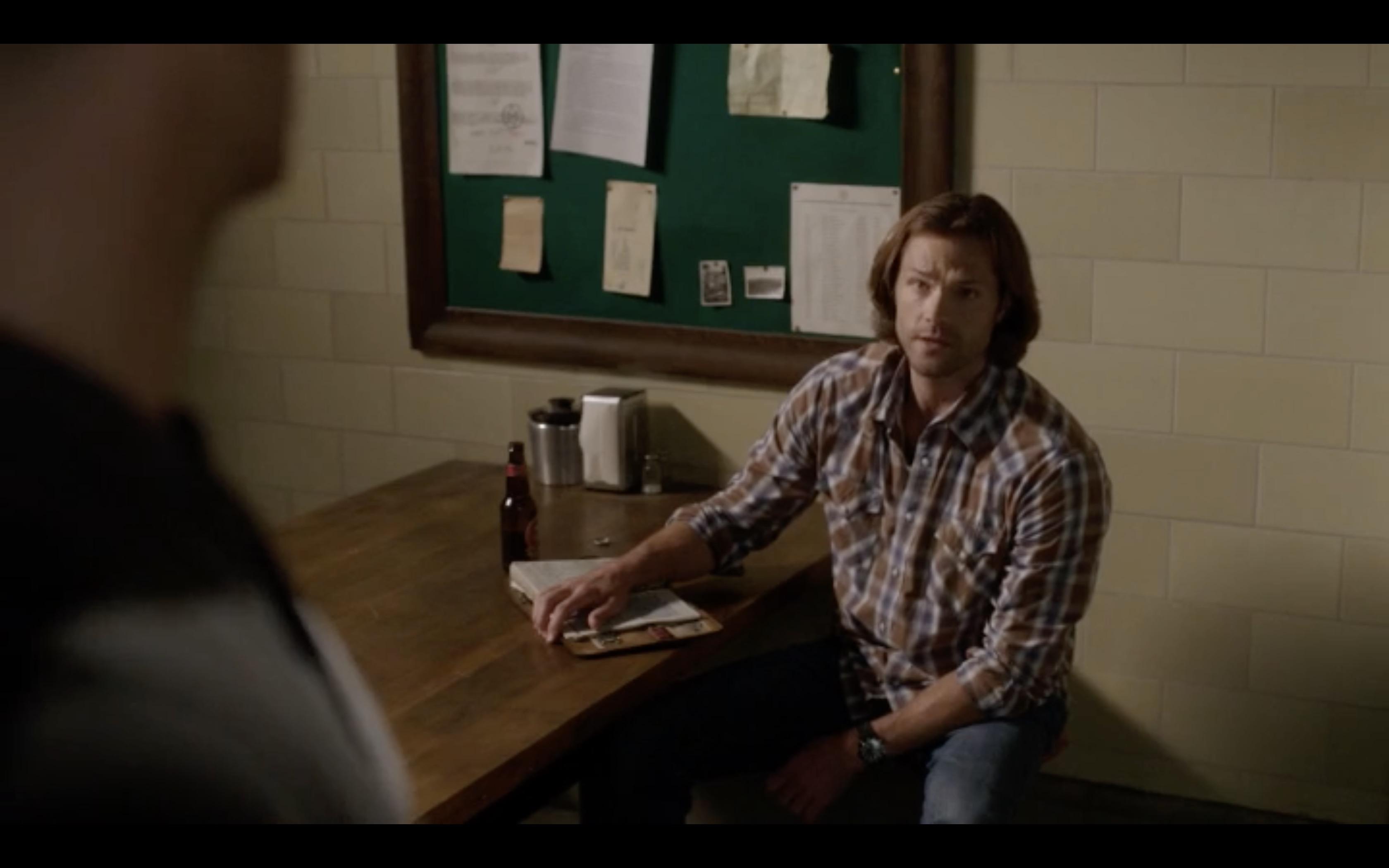 supernatural jack learning from dean drinking beer eating fries mttg