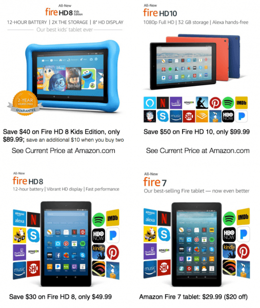 2017 amazon black friday fire hd 10 hd 8 hot holiday gift deals