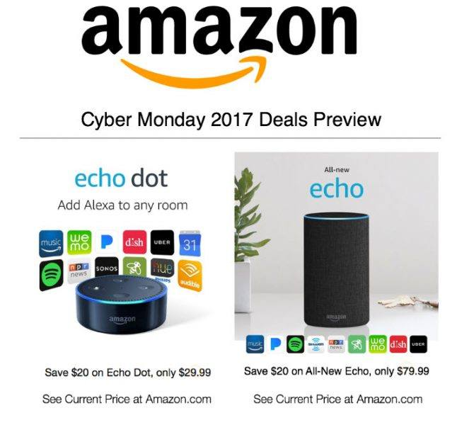 amazon 2017 cyber monday deals echo and echo dot sales