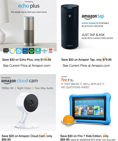 amazon echo cloud kindle fire deals black friday 2017