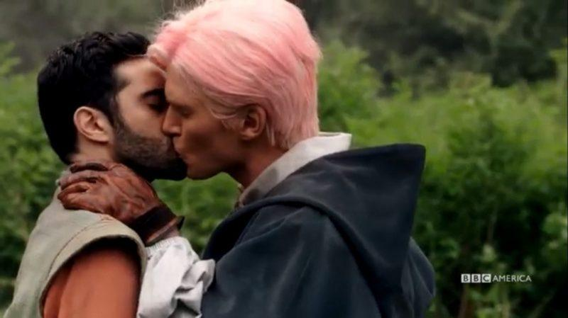 lee majdoub kissing christopher russell on dirk gently bbc