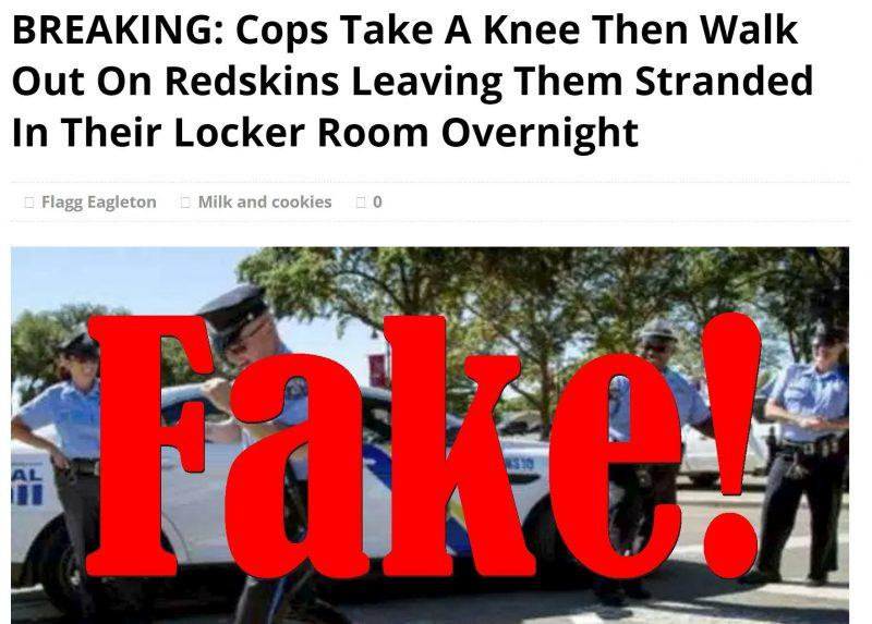 police take knee abandon washington redskins game fake news 2017 images