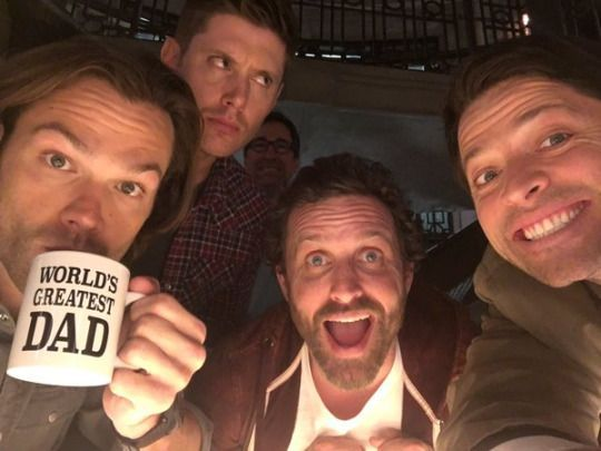 rob benedict with jared padalecki jensen ackles and misha collins movie tv tech geeks