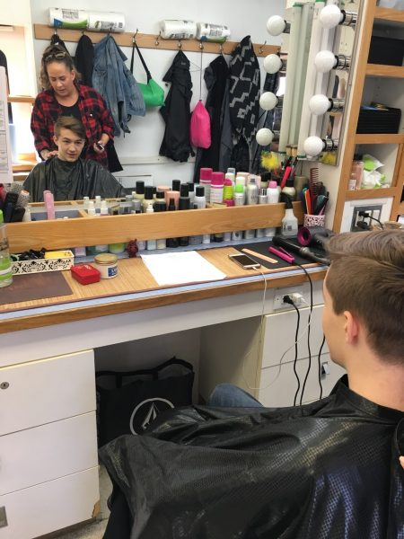 seth isaac johnson in supernatural makeup chair ready for bullet mark head