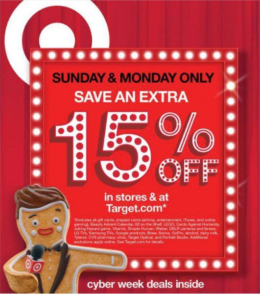 targets fifteen percent off everything cyber monday deal
