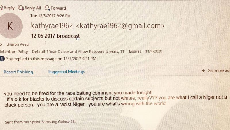 kathy rae e-mail to sharon reed calling her niger rant