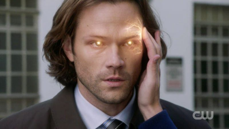 sam winchester touched by jack with lit up eyes for mom bad place