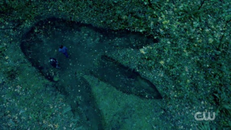 supernatural what the hell moment with dinosaur footprint
