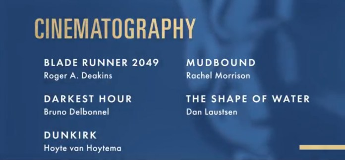 2018 academy award nominations cinematography