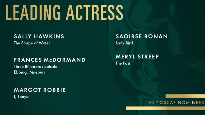 2018 oscars academy awards leading-acrtess