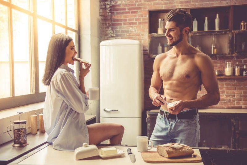 sexy man women having morning after sex breakfast topless