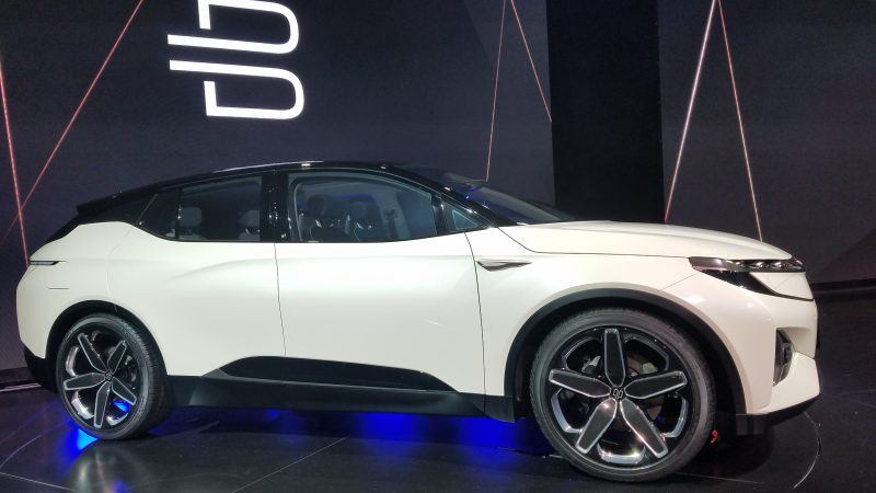 ces 2018 byton electric suv car on display