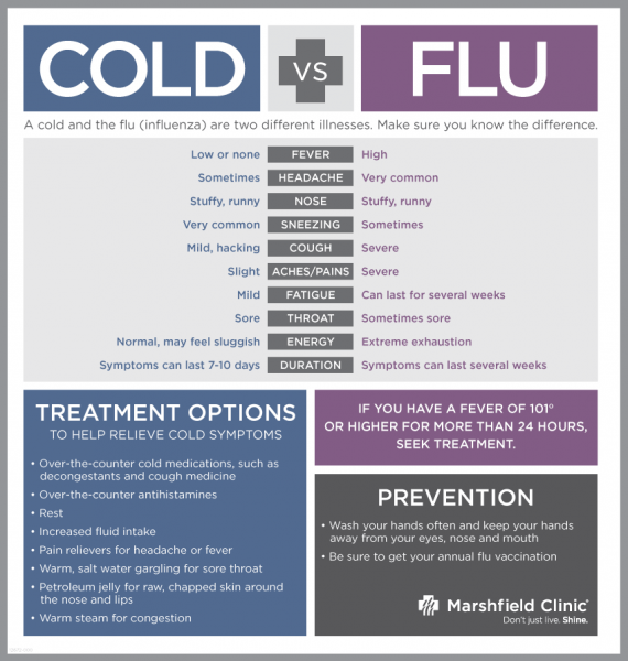 cold vs the flu symptons images