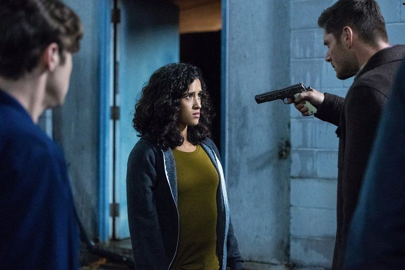 dean winchester pulling gun on kaia nieves supernatural