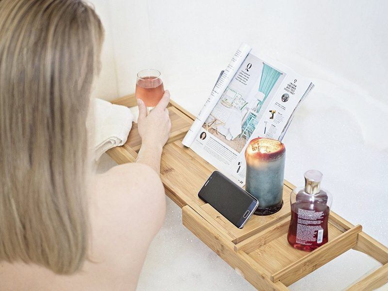 moderntropic luxury bamboo bathtub caddy tray valentines day gifts 2018