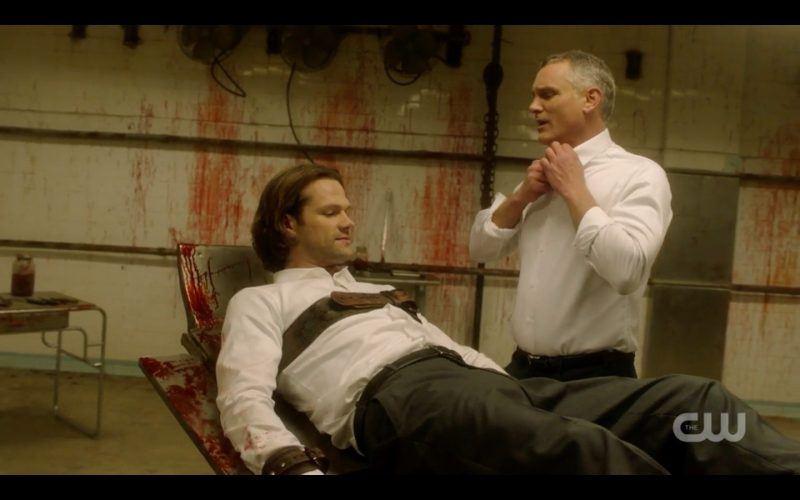 supernatural sam white shirt with torture man bondage breakdown