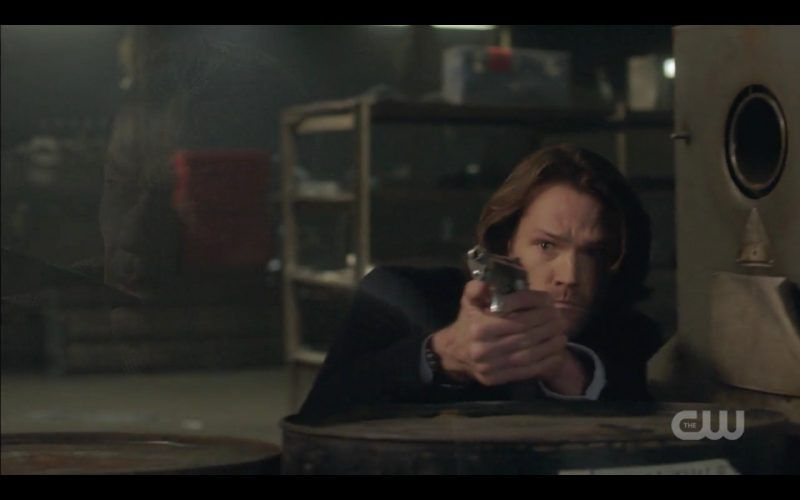 supernatural sam winchester holding gun out a most holy man
