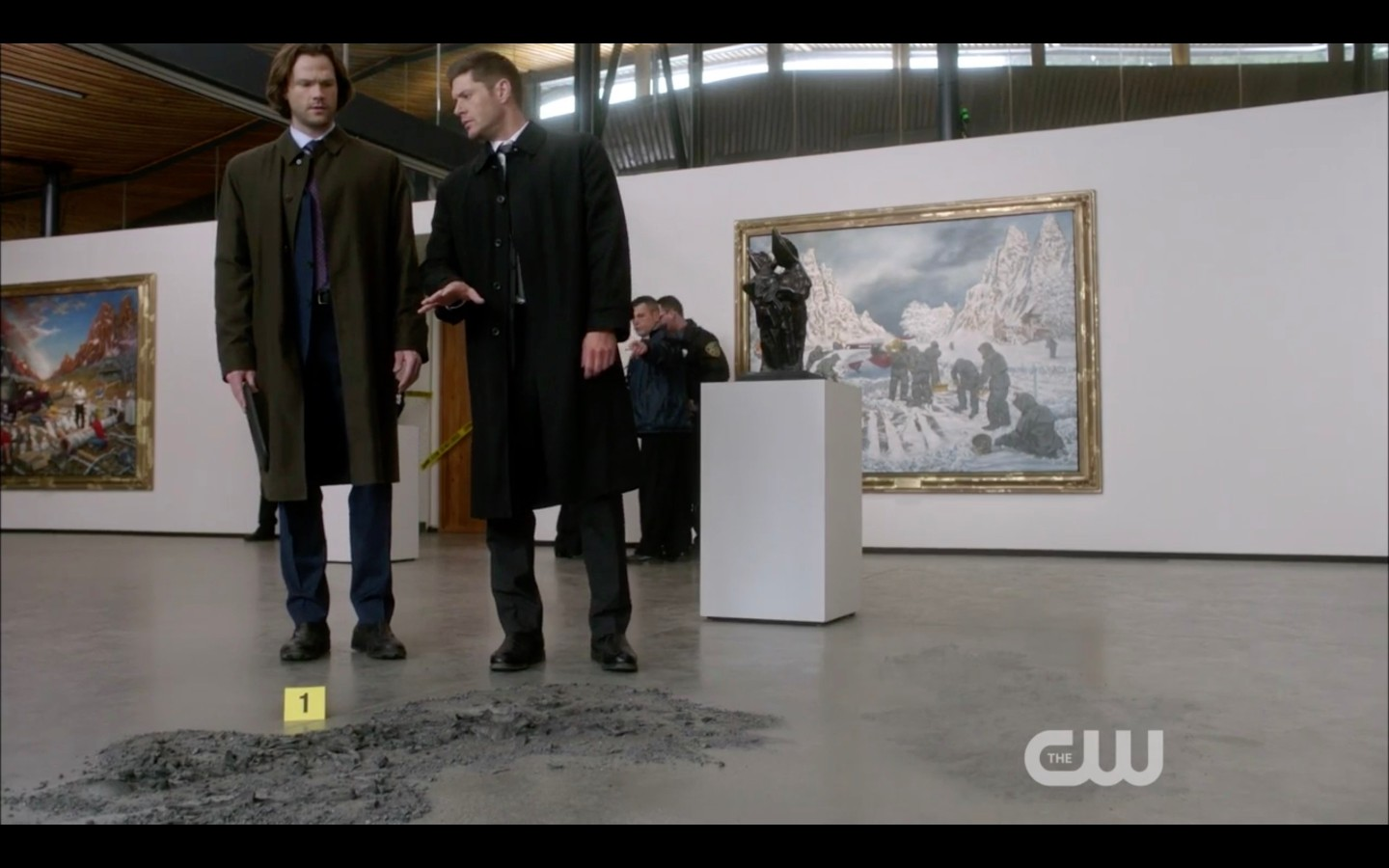 dean sam winchester at gallery waiting for rowena funeralia