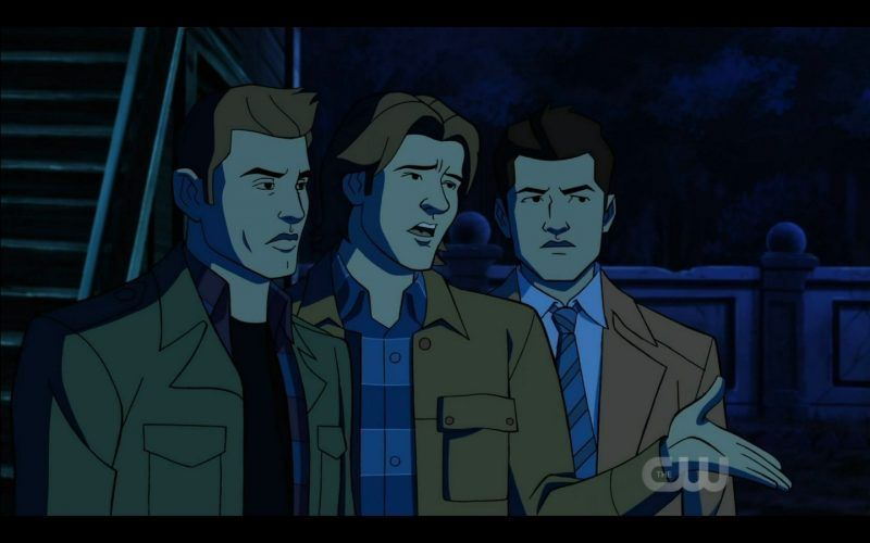 dean sam winchester with animated castiel am i in hell scoobynatural