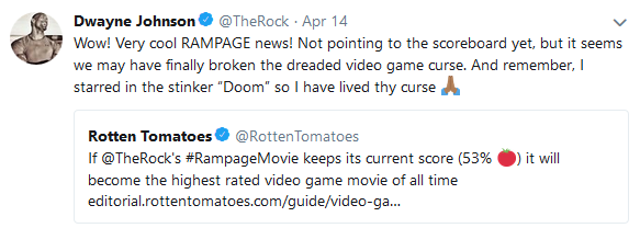 dwayne johnson tweet about rampage box office