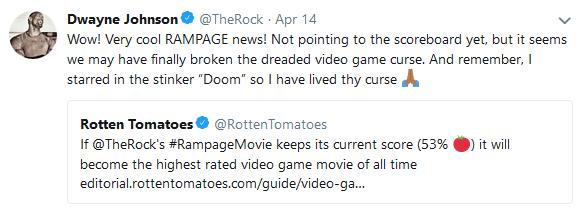 dwayne johnson tweet about rampage box office