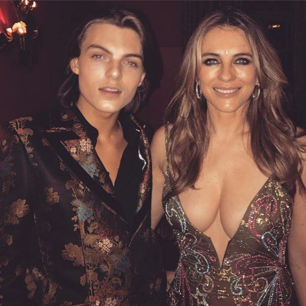 elizabeth hurley shows off cleavage with son