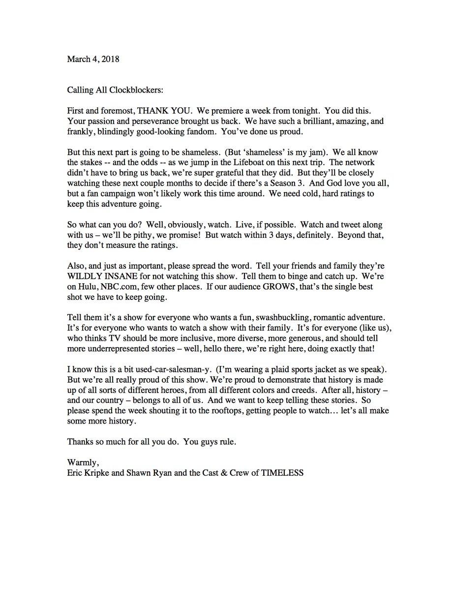 eric kripke note to timeless fans mttg