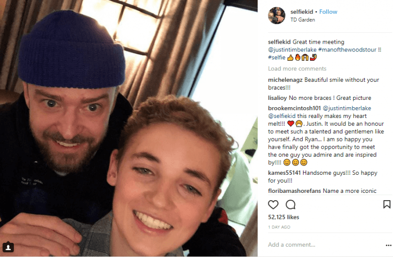 justin timberlake back with superbowl selfie kid