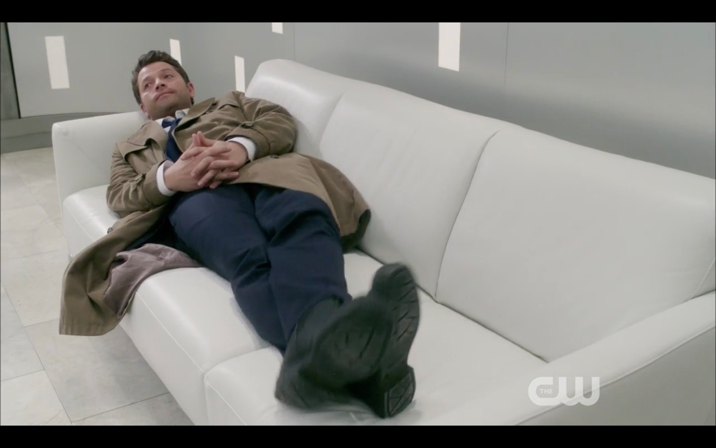 misha collins castiel laying on couch in heaven supernatural
