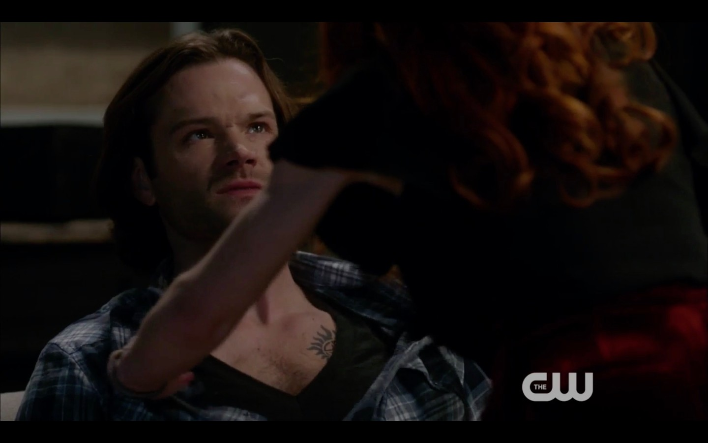 rowena continues baiting sam winchester shirt open 1319