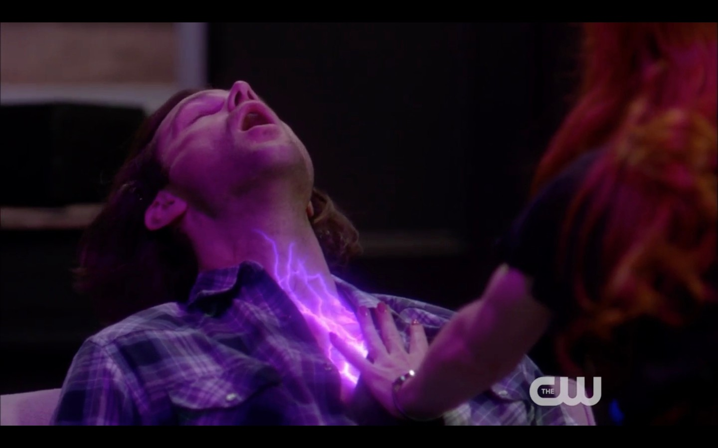 sam winchester purple lights on chest from rowena hand job 2018