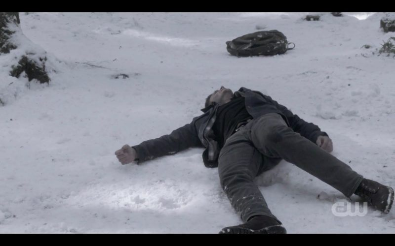 supernatural dean winchester collapses in snow