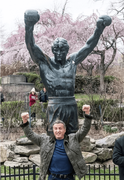 sylvester stallone visits rocky balboa statue in philly