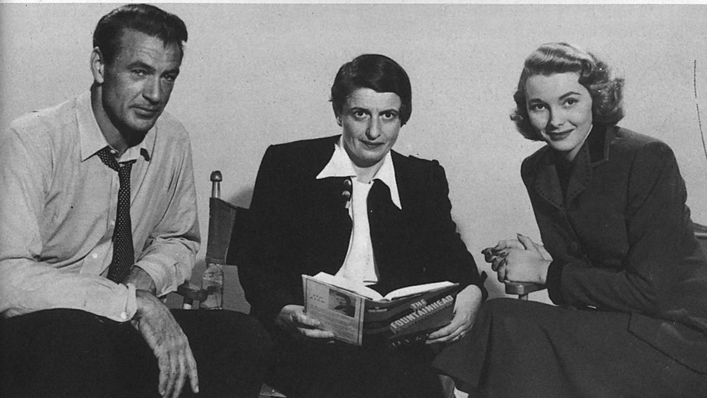 ayn rand with gary cooper patricia neal on fountainhead set