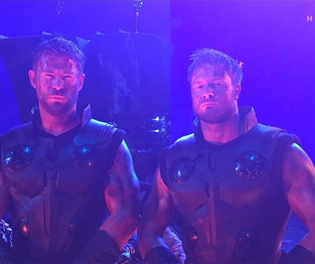 chris hemsworth dirty up with bobby holland for avengers