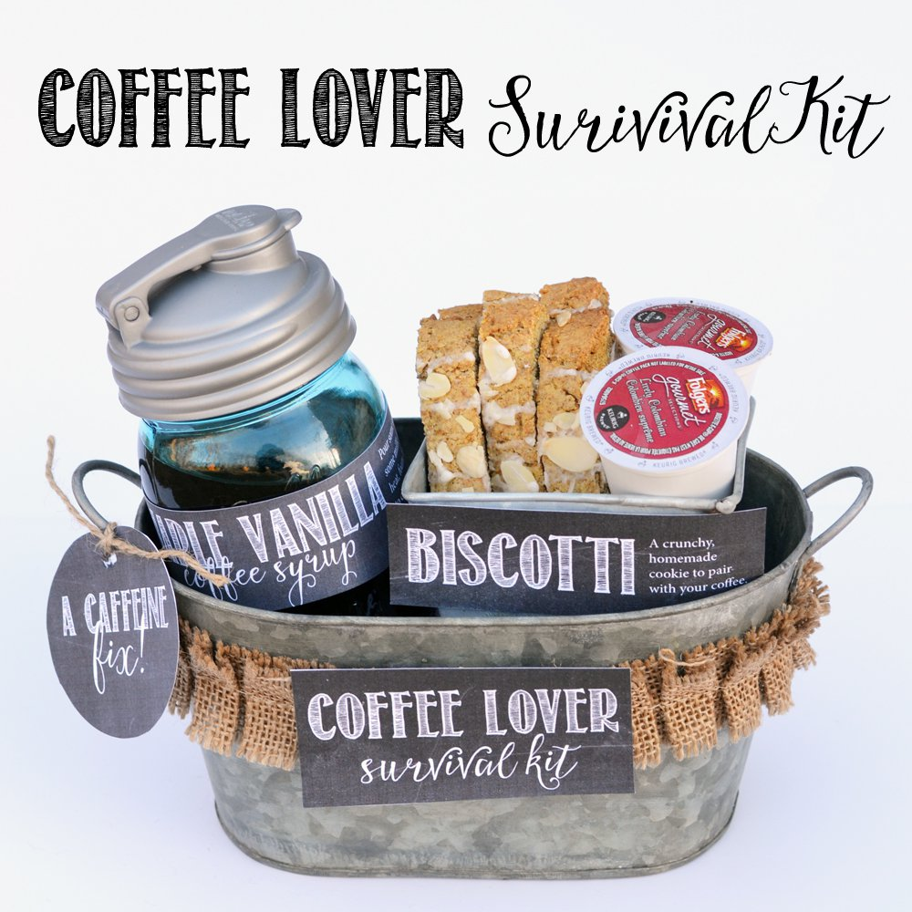 coffee lover survival kit mothers day gift basket ideas