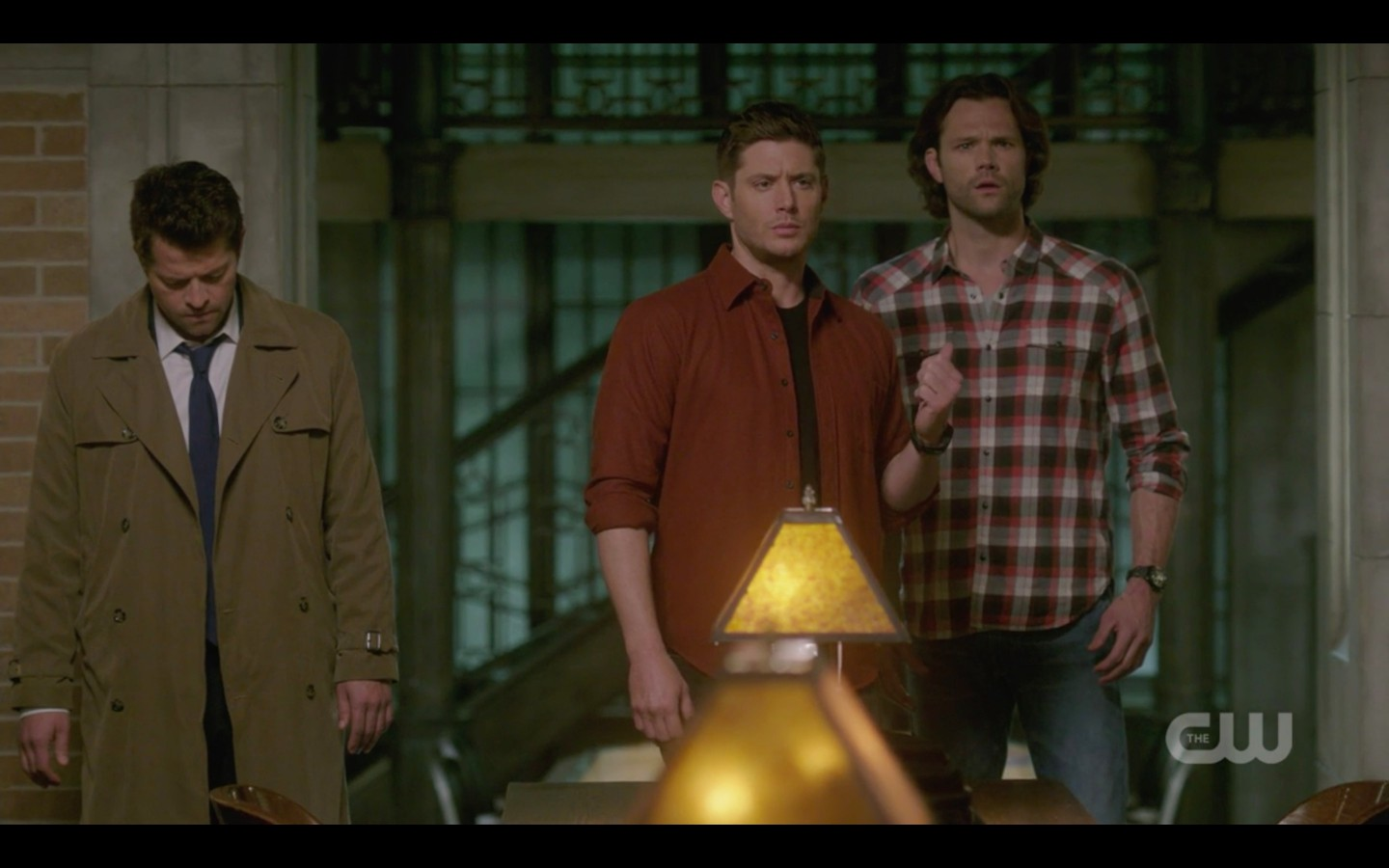 sam dean winchester with castiel at library supernatural 1321