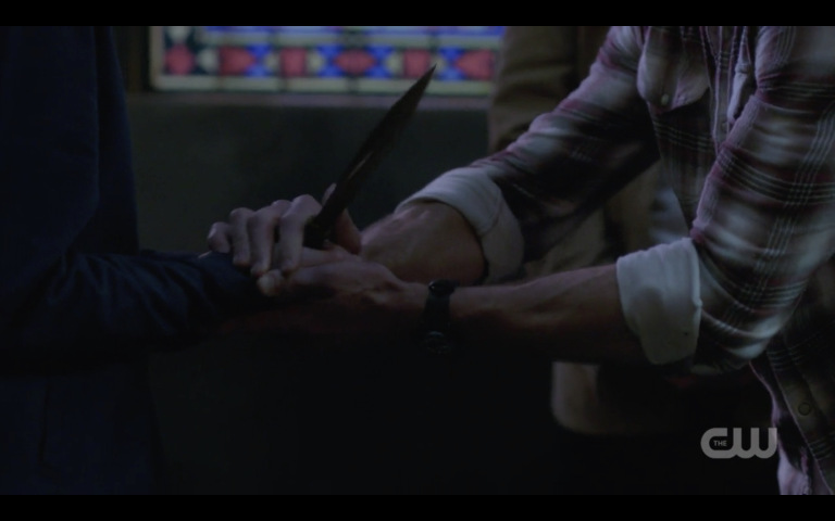 sam winchester gives jack blade to stab him supernatural 1324