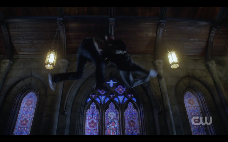 supernatural lucifer and dean winchester fighting in air church finale season 13