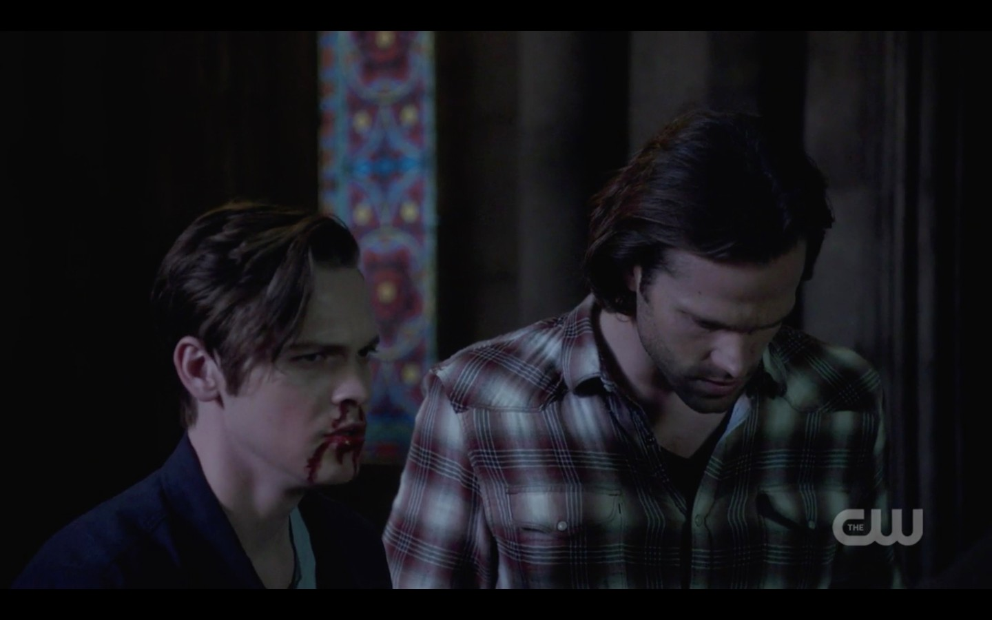 supernatural sam winchester sad that dean is gone with bloodied jack 2018