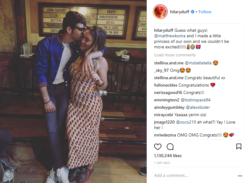 hillary duff announces being pregnant with matthew koma boyfriend