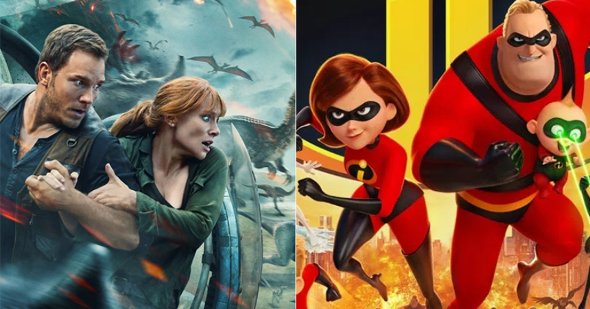 jurassic world fallen kingdom pushes incredibles 2 into second box office slot