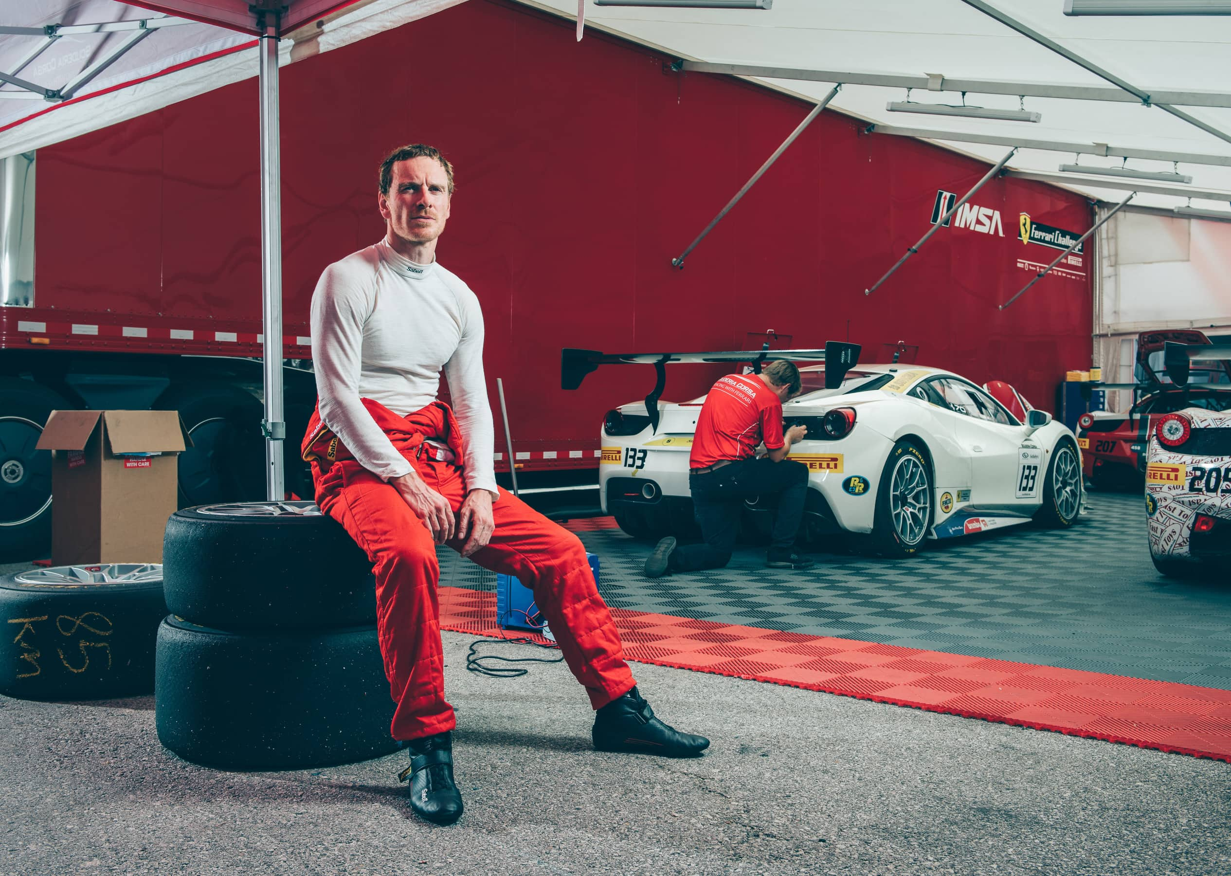 michael fassbender race car ferrari challenge
