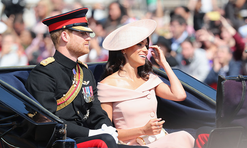 prince harry and meghan markle arrive for trooping the color